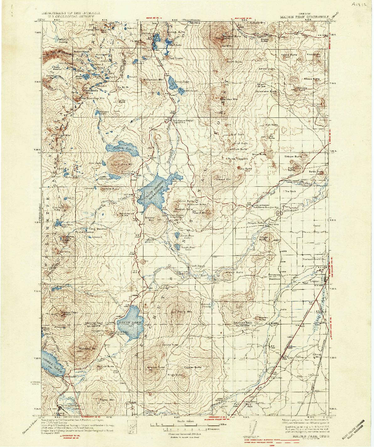 USGS 1:125000-SCALE QUADRANGLE FOR MAIDEN PEAK, OR 1934