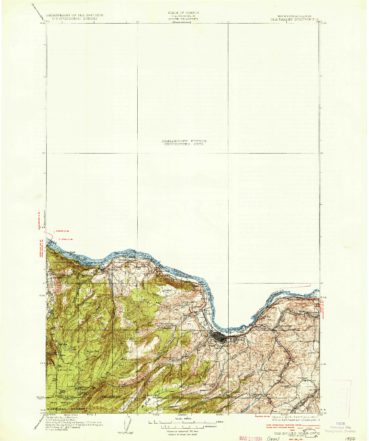 USGS 1:125000-SCALE QUADRANGLE FOR THE DALLES, OR 1934