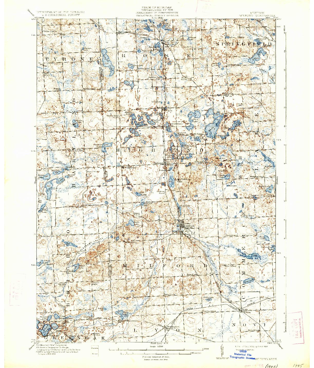 USGS 1:62500-SCALE QUADRANGLE FOR MILFORD, MI 1909