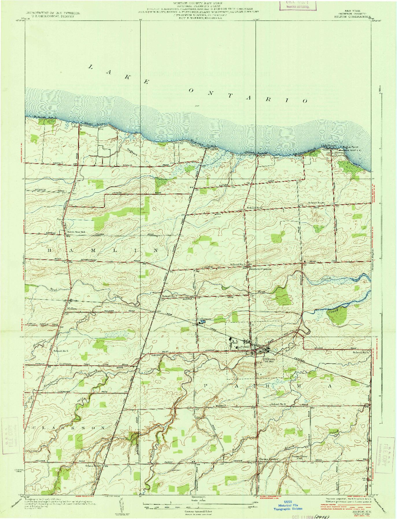 USGS 1:24000-SCALE QUADRANGLE FOR HILTON, NY 1934