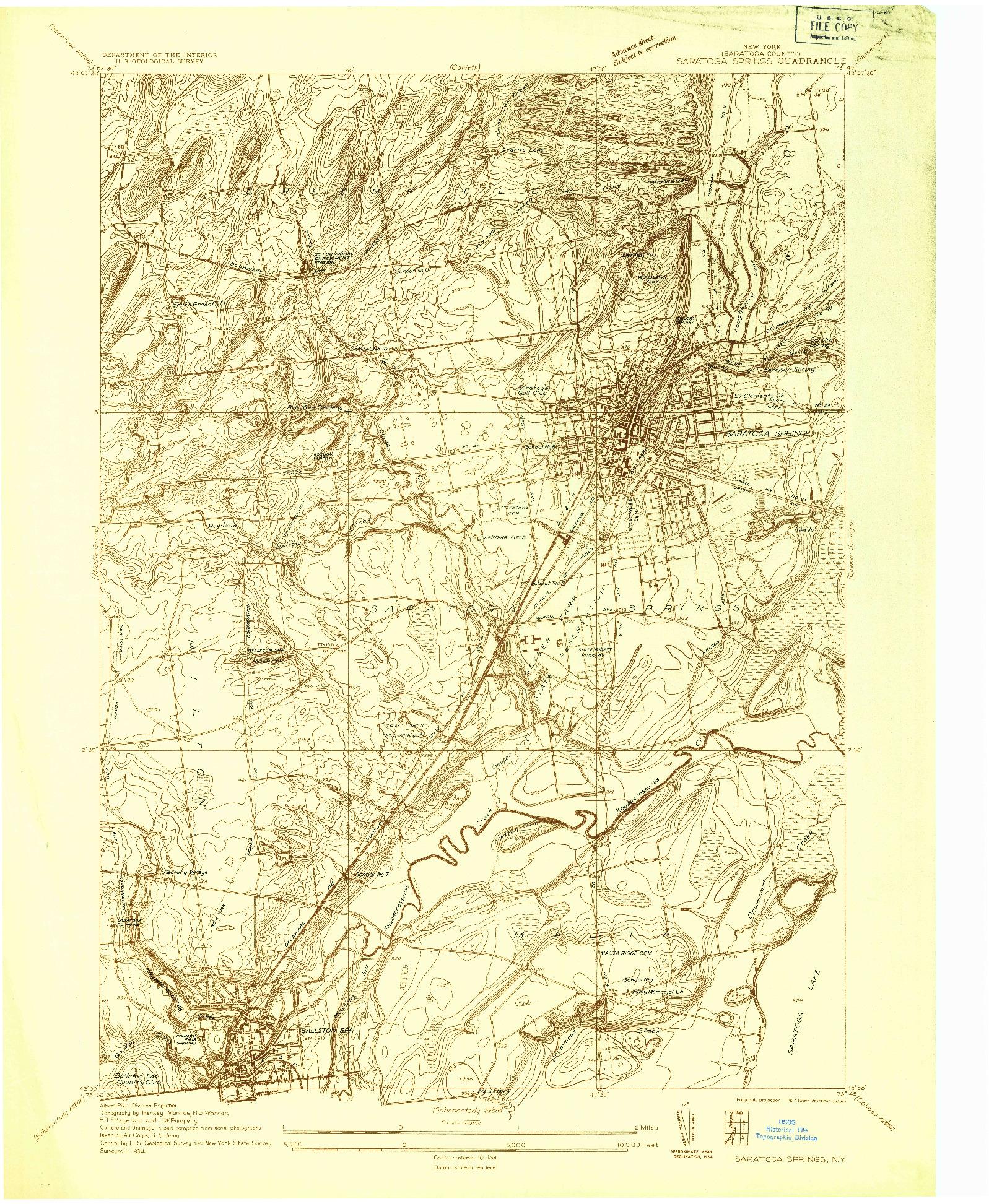 USGS 1:24000-SCALE QUADRANGLE FOR SARATOGA SPRINGS, NY 1934