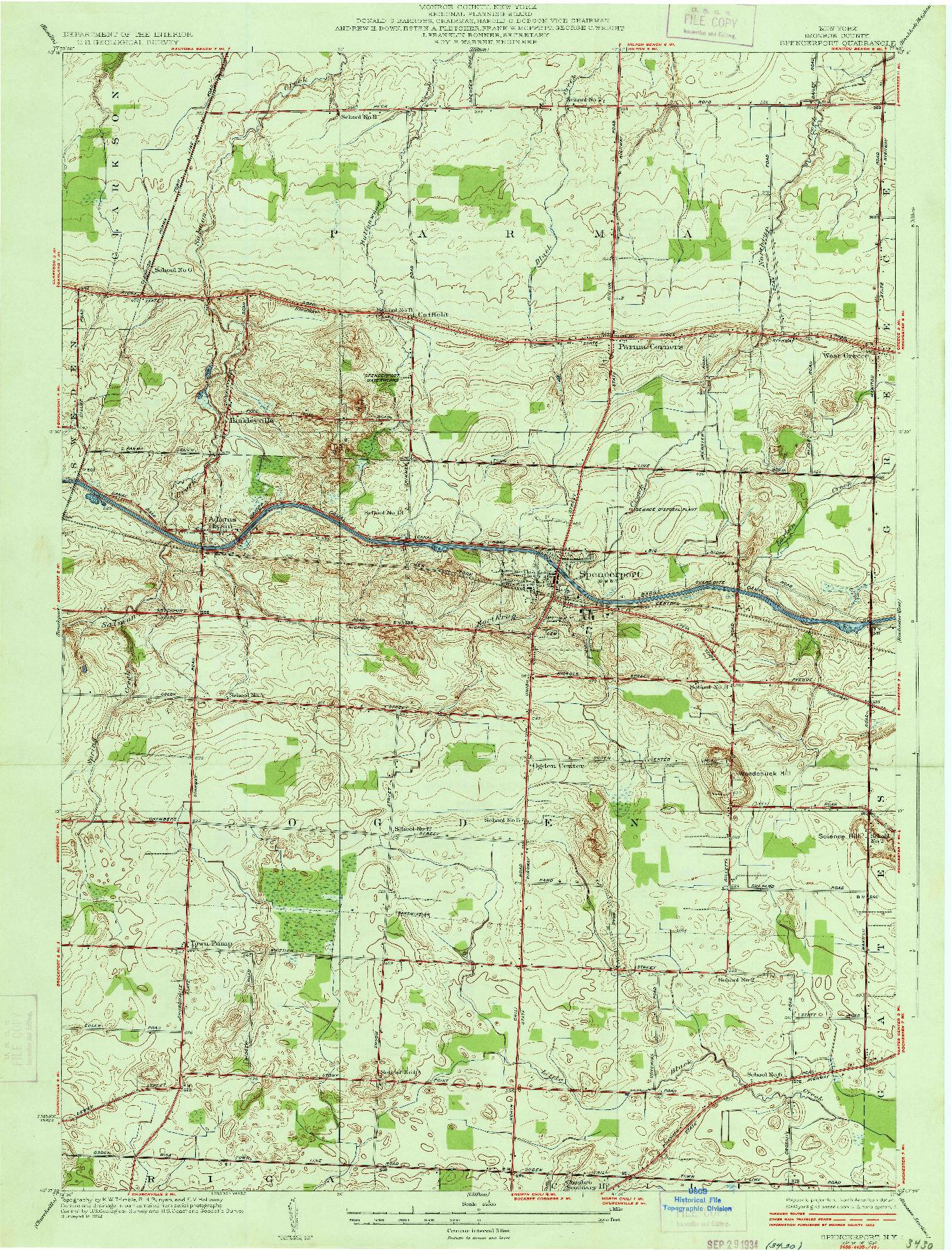 USGS 1:24000-SCALE QUADRANGLE FOR SPENCERPORT, NY 1934