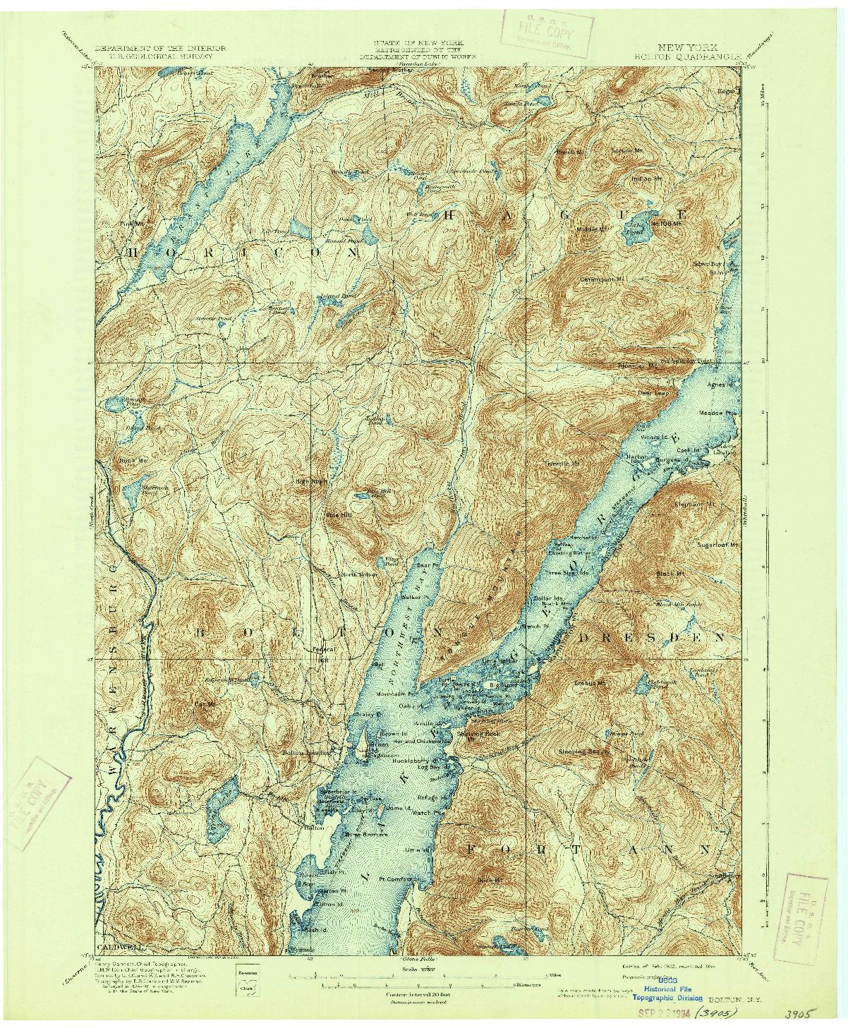 USGS 1:62500-SCALE QUADRANGLE FOR BOLTON, NY 1900