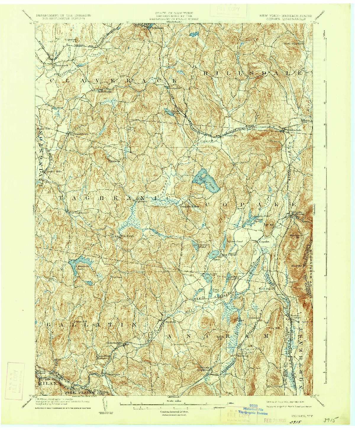 USGS 1:62500-SCALE QUADRANGLE FOR COPAKE, NY 1904