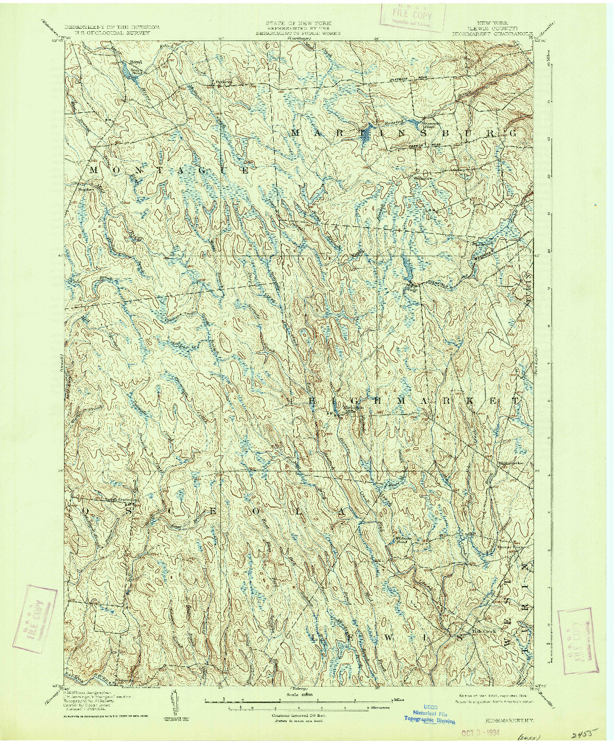 USGS 1:62500-SCALE QUADRANGLE FOR HIGHMARKET, NY 1906