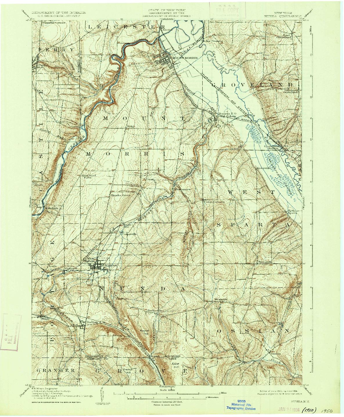 USGS 1:62500-SCALE QUADRANGLE FOR NUNDA, NY 1905