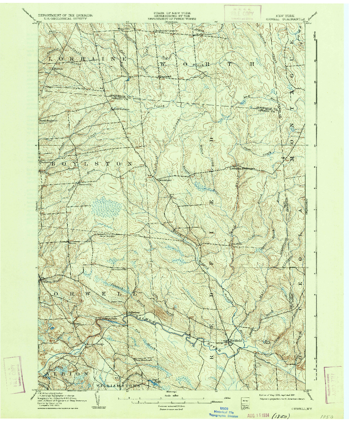 USGS 1:62500-SCALE QUADRANGLE FOR ORWELL, NY 1905