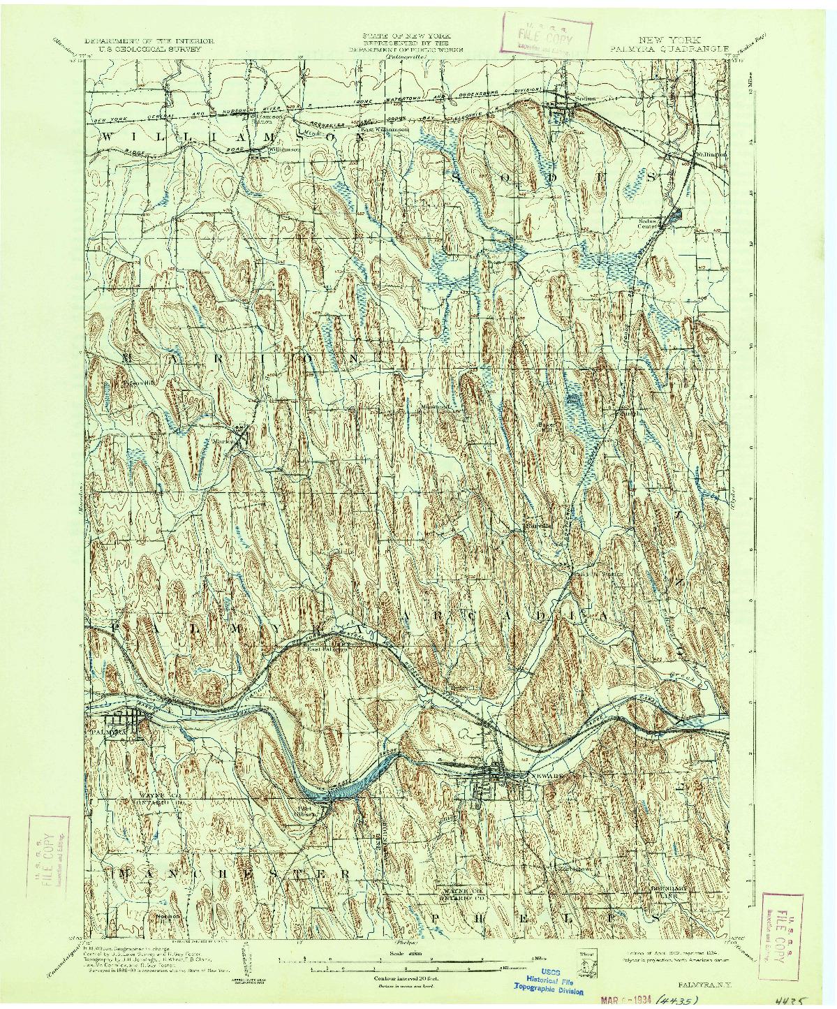 USGS 1:62500-SCALE QUADRANGLE FOR PALMYRA, NY 1902