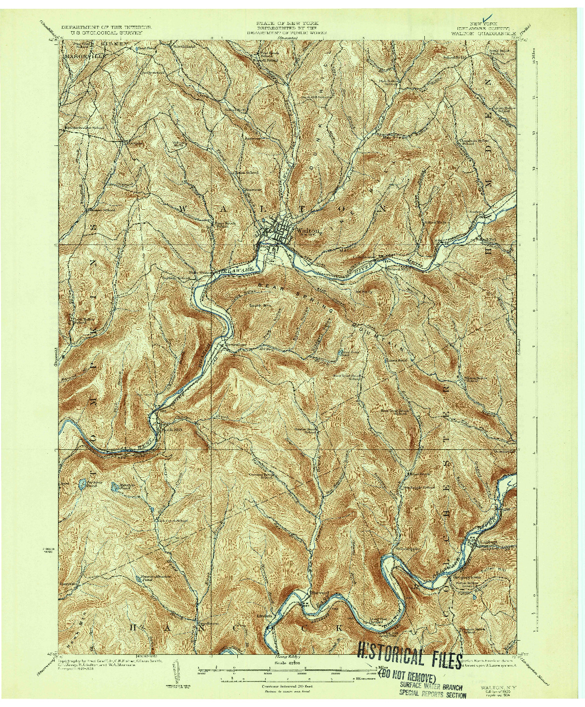 USGS 1:62500-SCALE QUADRANGLE FOR WALTON, NY 1925