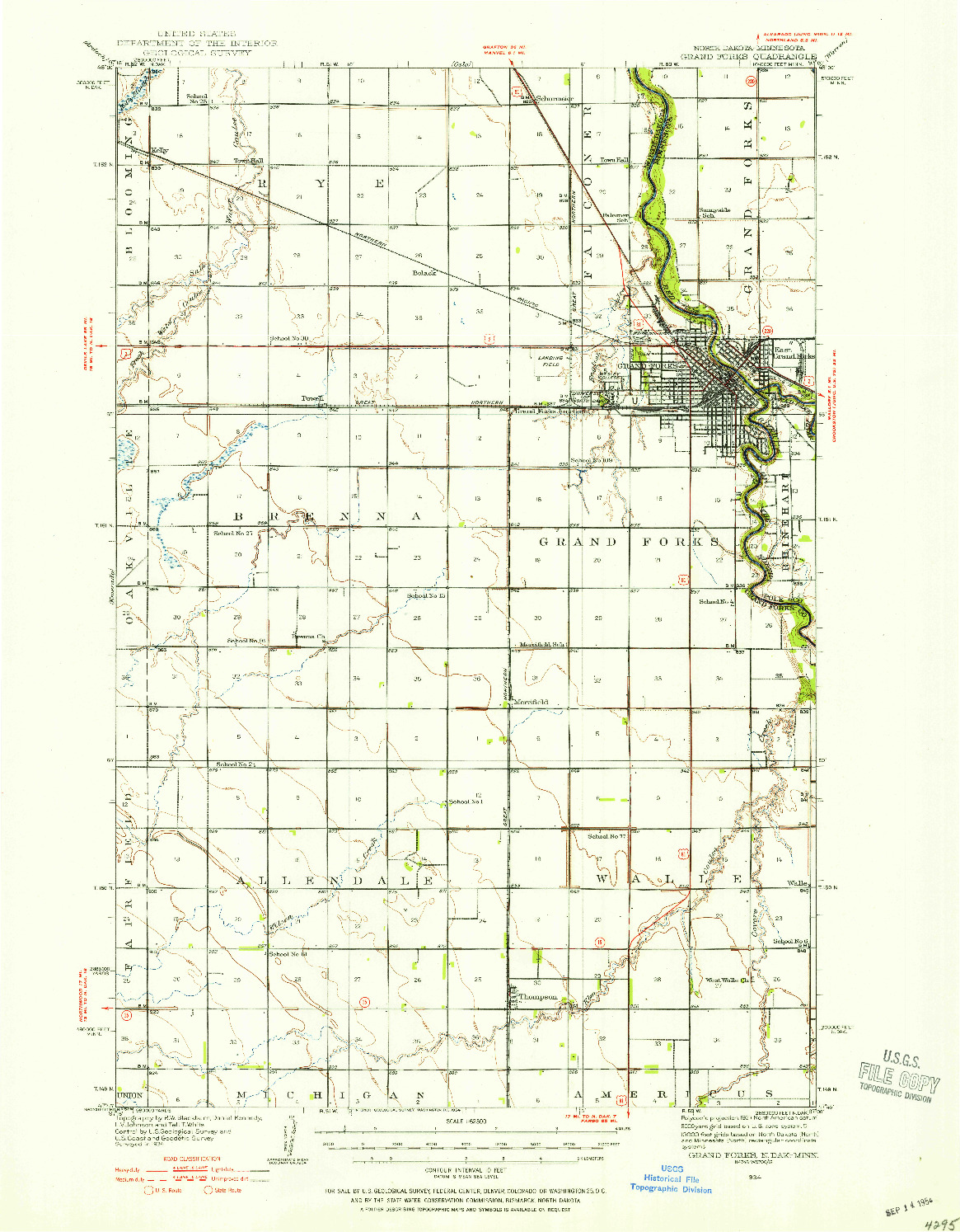 USGS 1:62500-SCALE QUADRANGLE FOR GRAND FORKS, ND 1934