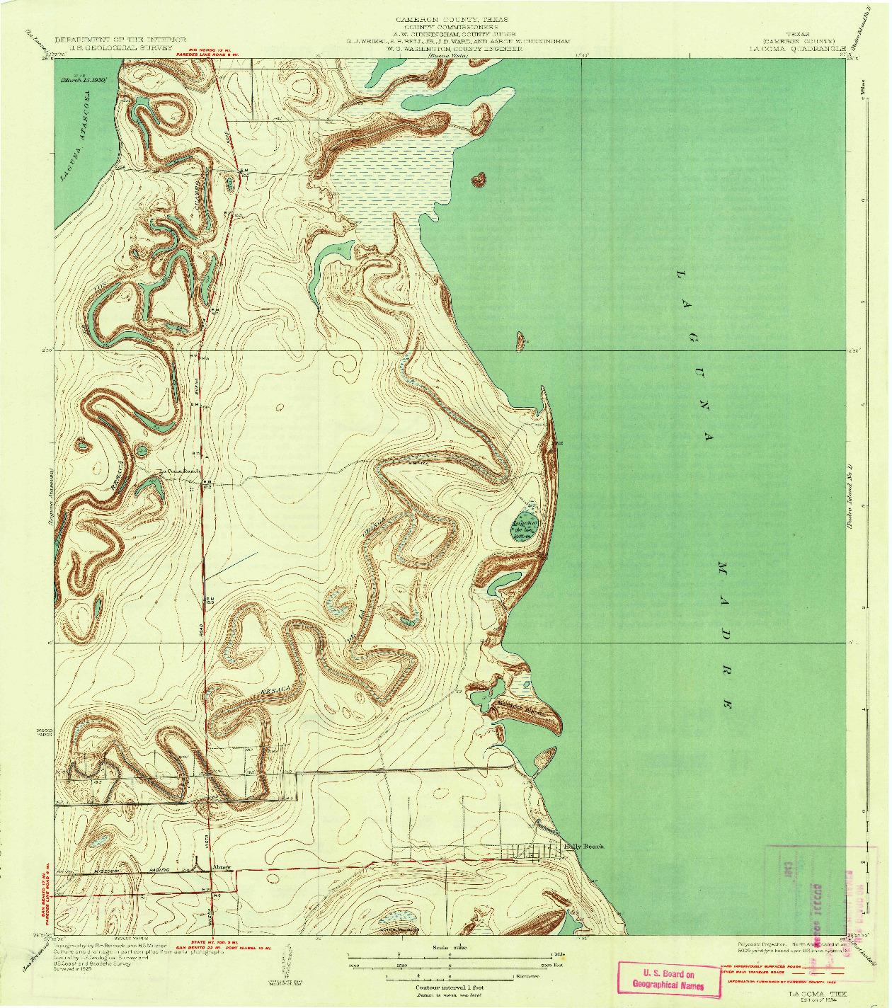 USGS 1:31680-SCALE QUADRANGLE FOR LA COMA, TX 1934