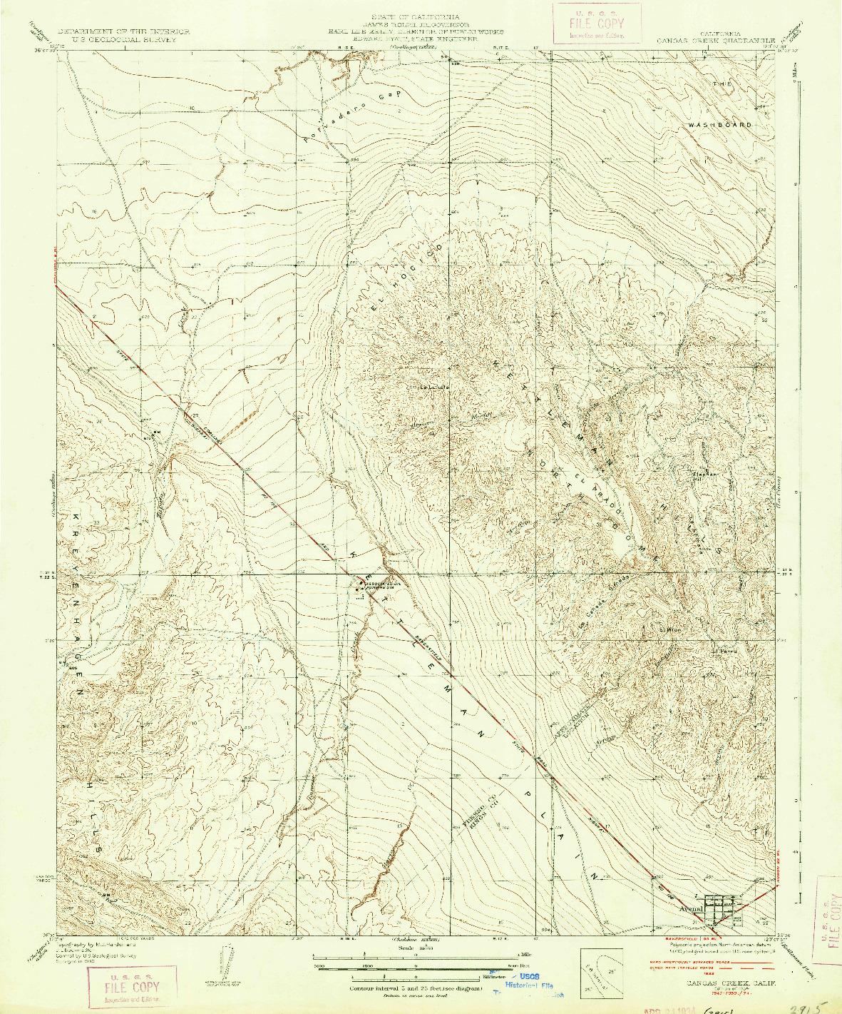 USGS 1:31680-SCALE QUADRANGLE FOR CANOAS CREEK, CA 1934