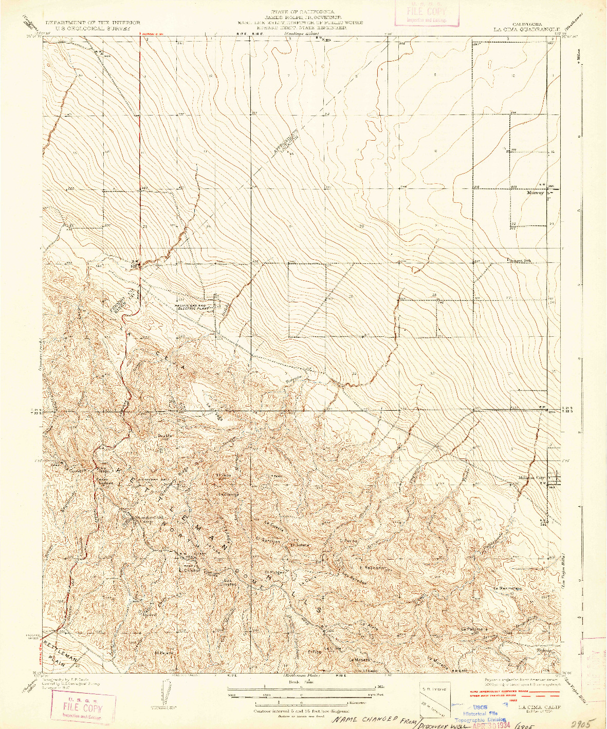 USGS 1:31680-SCALE QUADRANGLE FOR LA CIMA, CA 1934