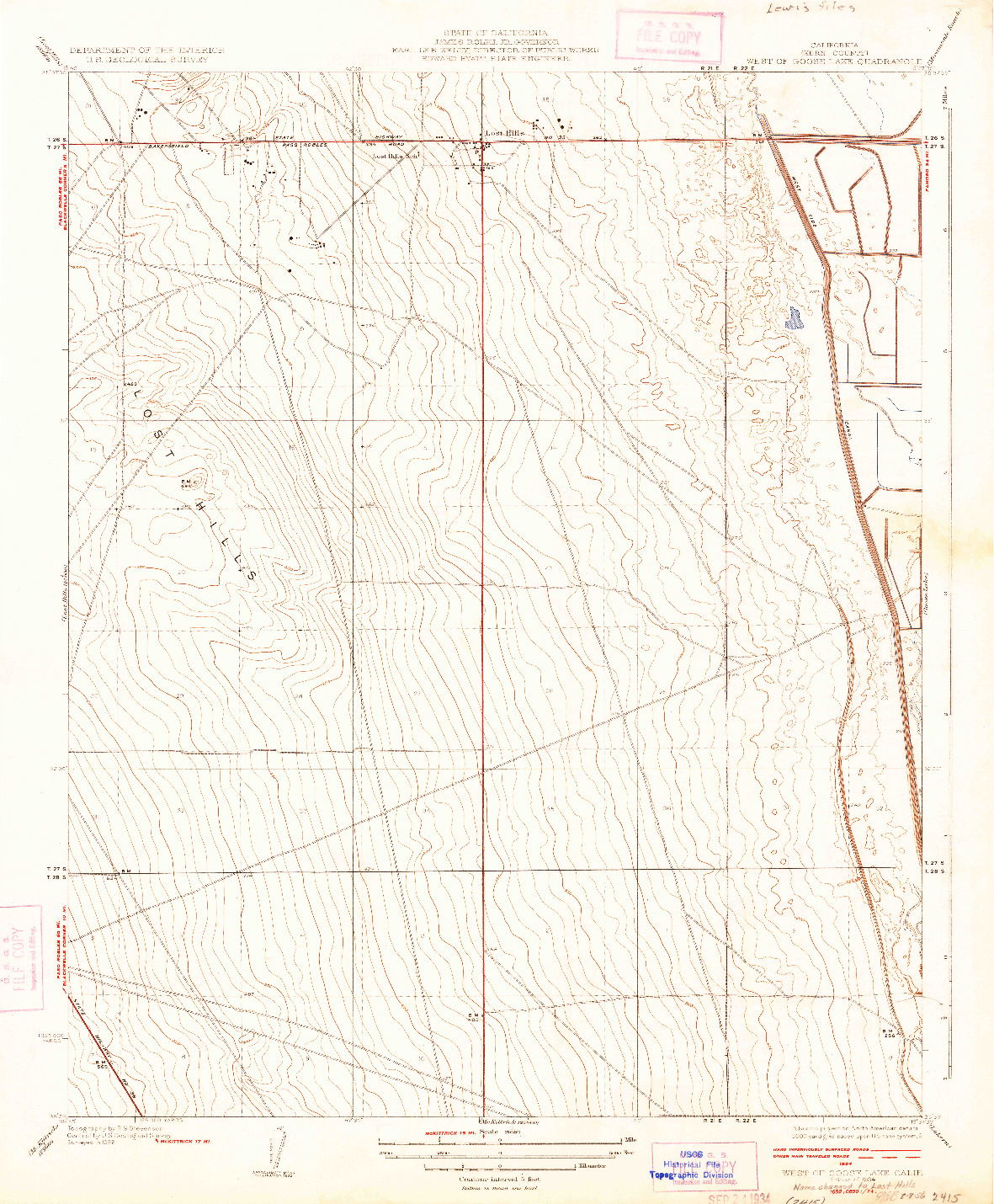 USGS 1:31680-SCALE QUADRANGLE FOR WEST OF GOOSE LAKE, CA 1934