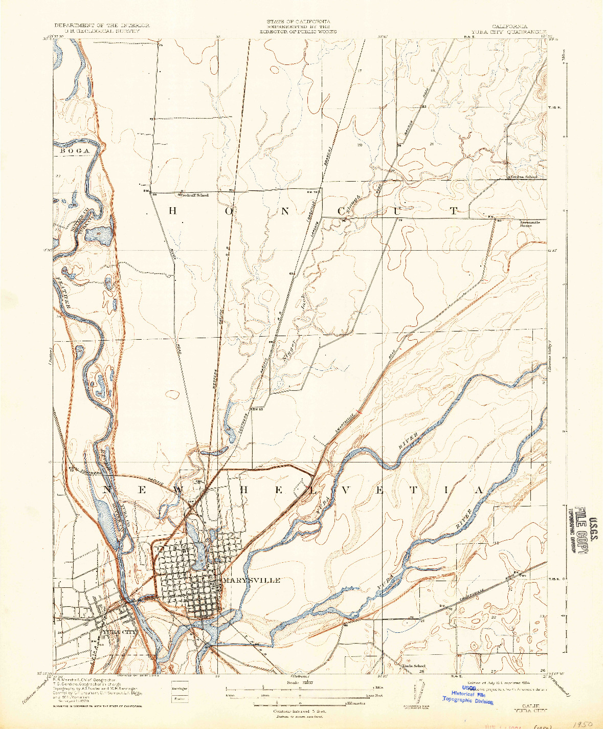 USGS 1:31680-SCALE QUADRANGLE FOR YUBA CITY, CA 1911