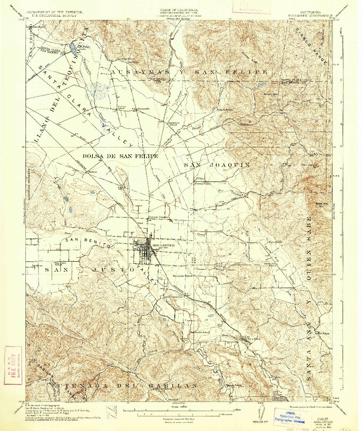 USGS 1:62500-SCALE QUADRANGLE FOR HOLLISTER, CA 1921