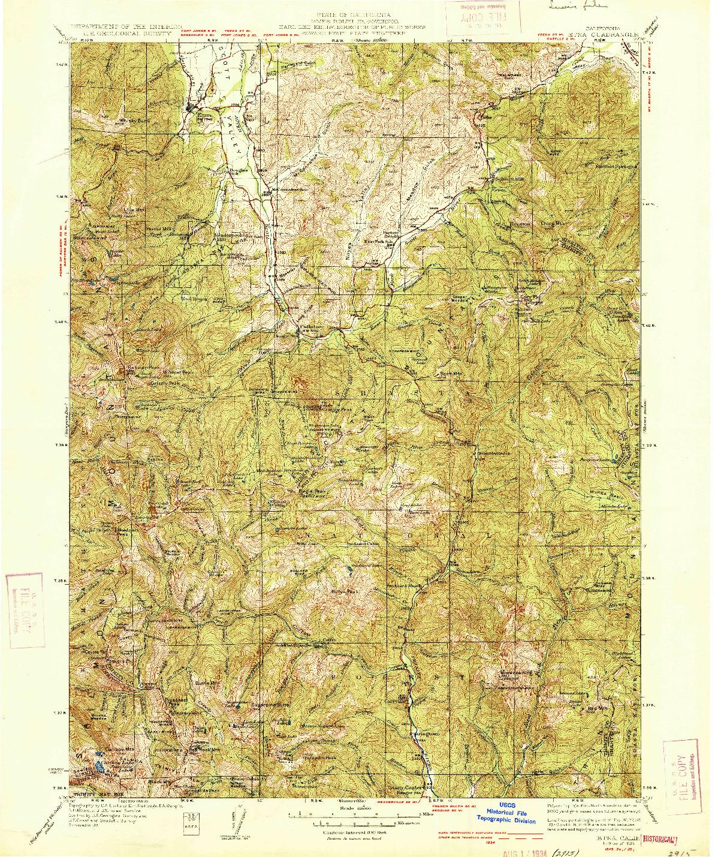 USGS 1:125000-SCALE QUADRANGLE FOR ETNA, CA 1934