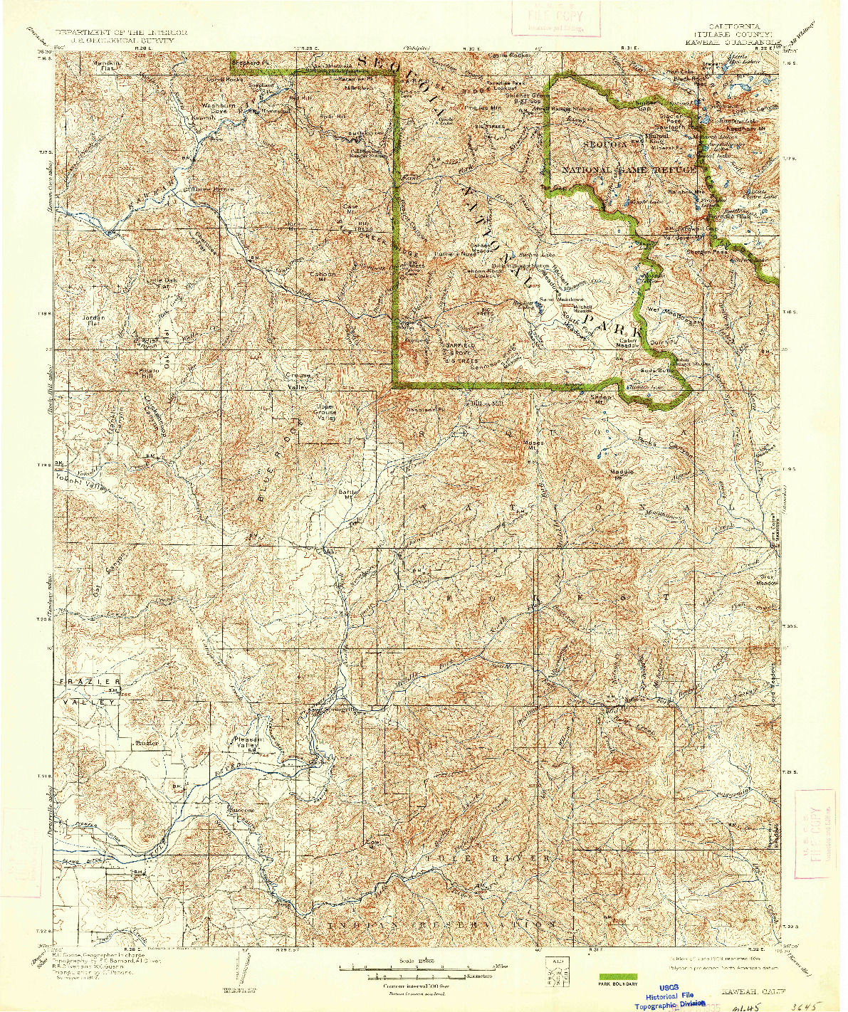 USGS 1:125000-SCALE QUADRANGLE FOR KAWEAH, CA 1909