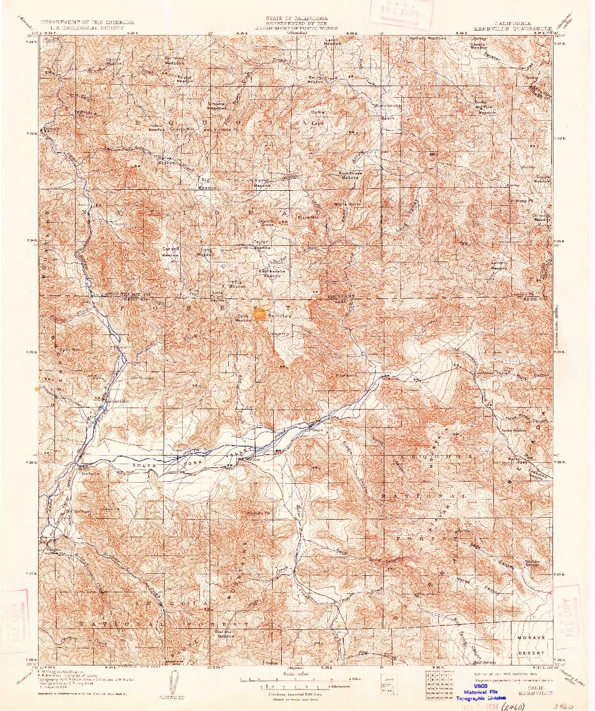 USGS 1:125000-SCALE QUADRANGLE FOR KERNVILLE, CA 1908