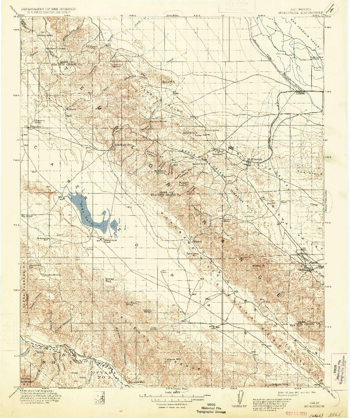 USGS 1:125000-SCALE QUADRANGLE FOR MCKITTRICK, CA 1912