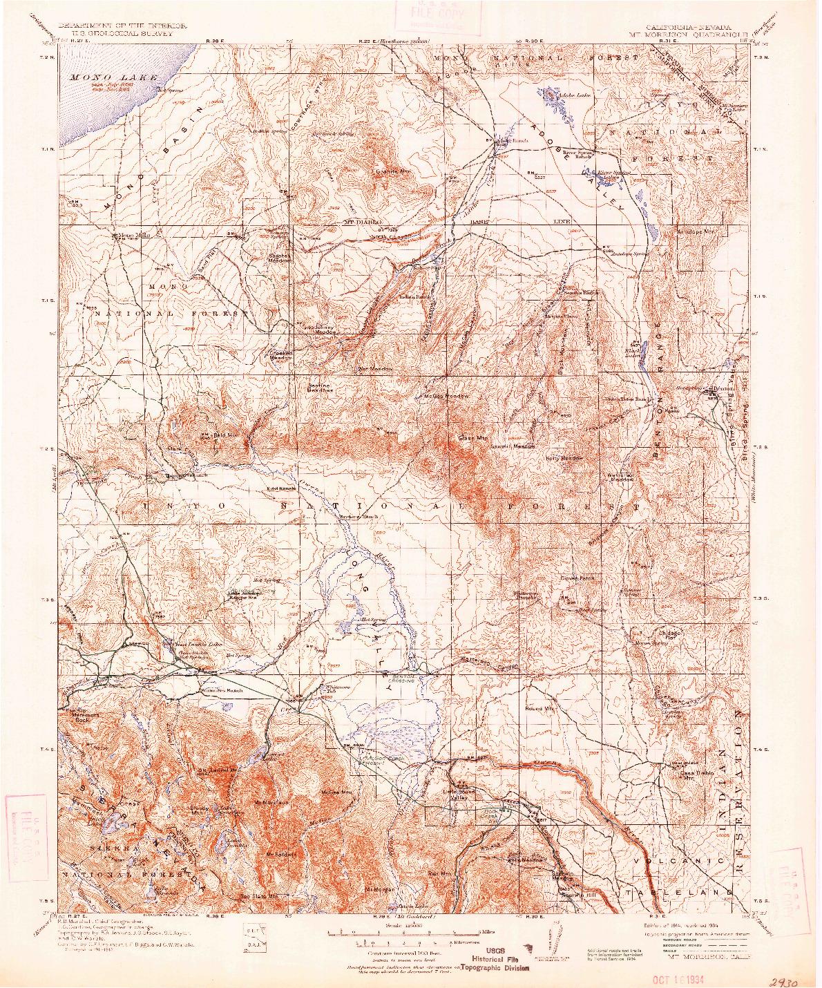 USGS 1:125000-SCALE QUADRANGLE FOR MT. MORRISON, CA 1914