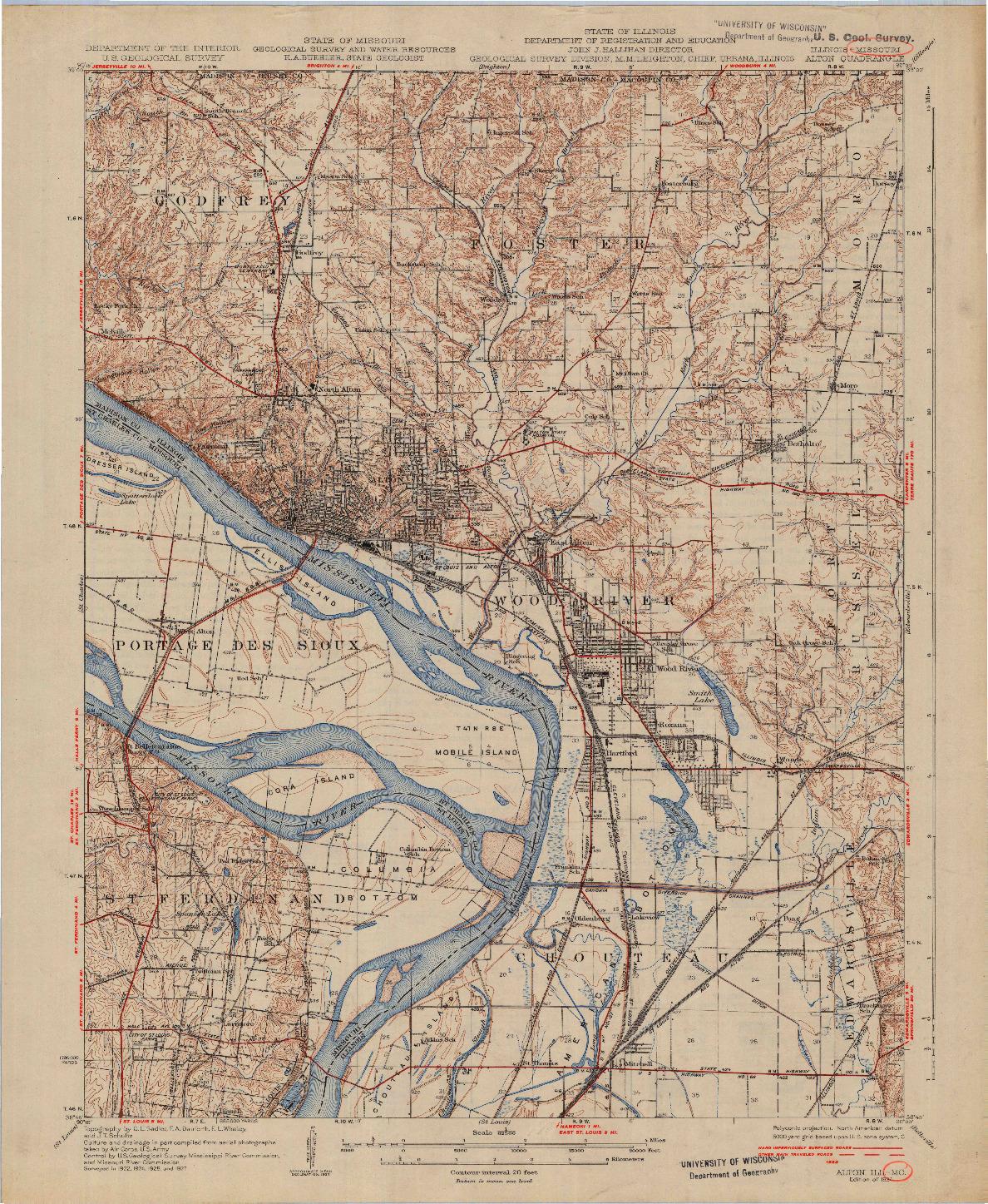 USGS 1:62500-SCALE QUADRANGLE FOR ALTON, IL 1934