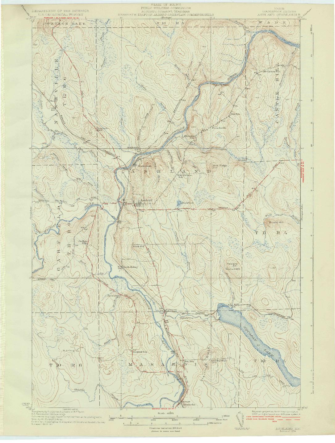 USGS 1:62500-SCALE QUADRANGLE FOR ASHLAND, ME 1934
