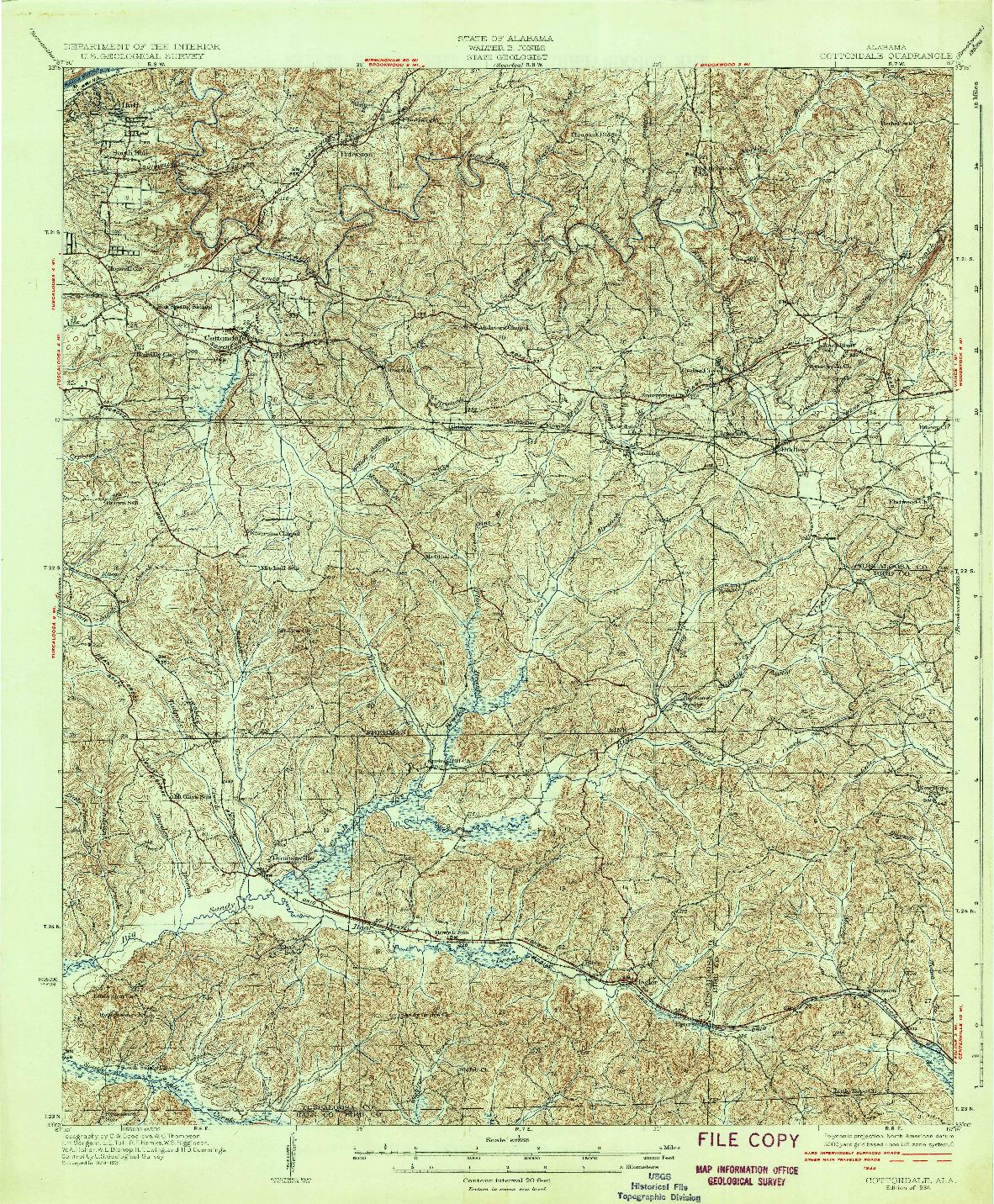 USGS 1:62500-SCALE QUADRANGLE FOR COTTONDALE, AL 1934