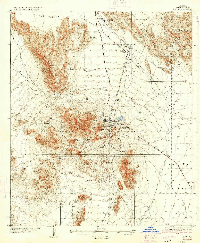 USGS 1:62500-SCALE QUADRANGLE FOR AJO, AZ 1934