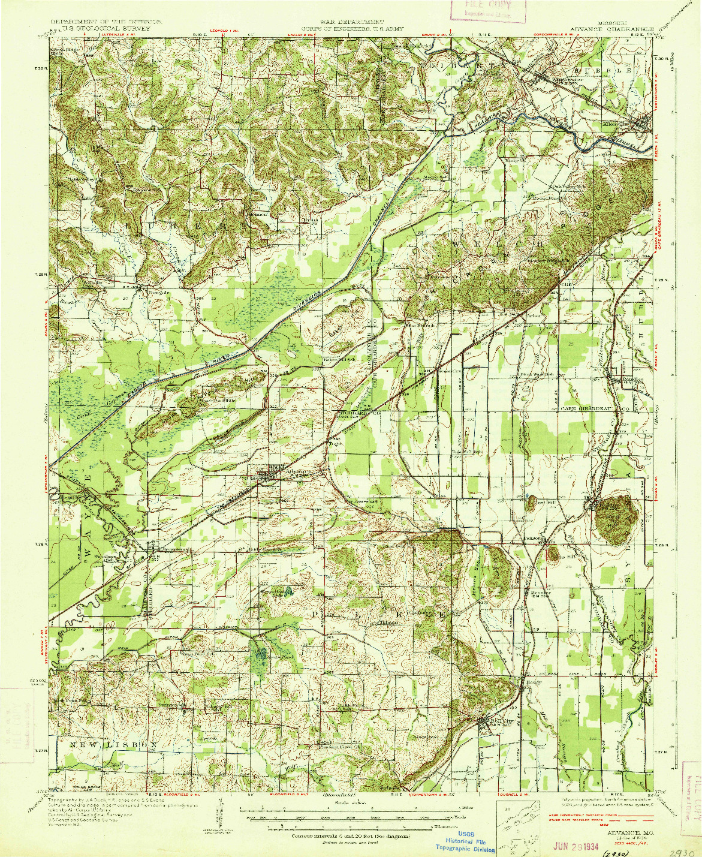 USGS 1:62500-SCALE QUADRANGLE FOR ADVANCE, MO 1934