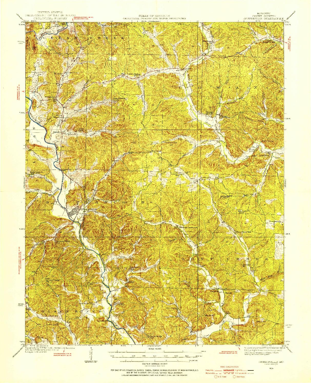USGS 1:62500-SCALE QUADRANGLE FOR GREENVILLE, MO 1934