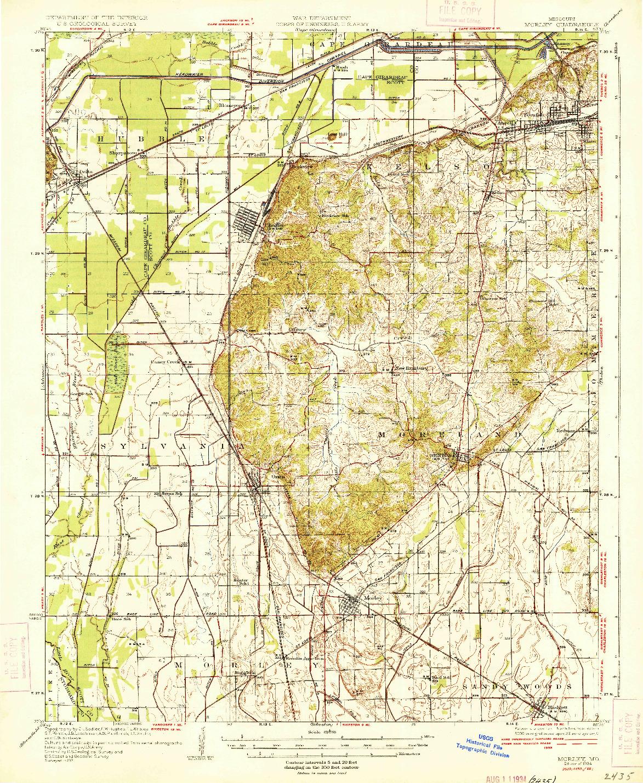 USGS 1:62500-SCALE QUADRANGLE FOR MORLEY, MO 1934