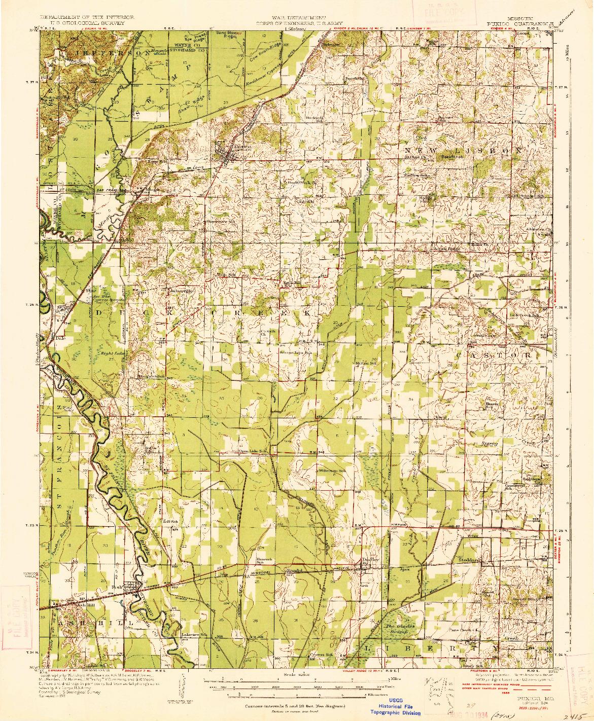 USGS 1:62500-SCALE QUADRANGLE FOR PUXICO, MO 1934