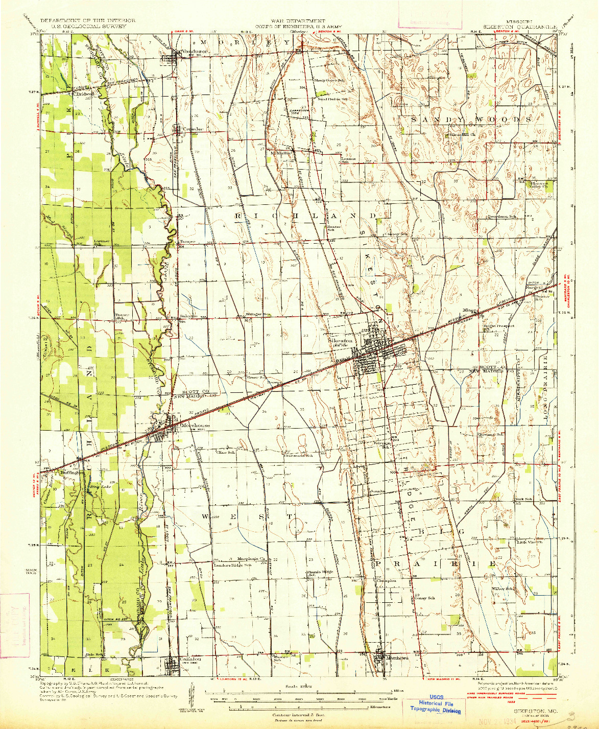 USGS 1:62500-SCALE QUADRANGLE FOR SIKESTON, MO 1934