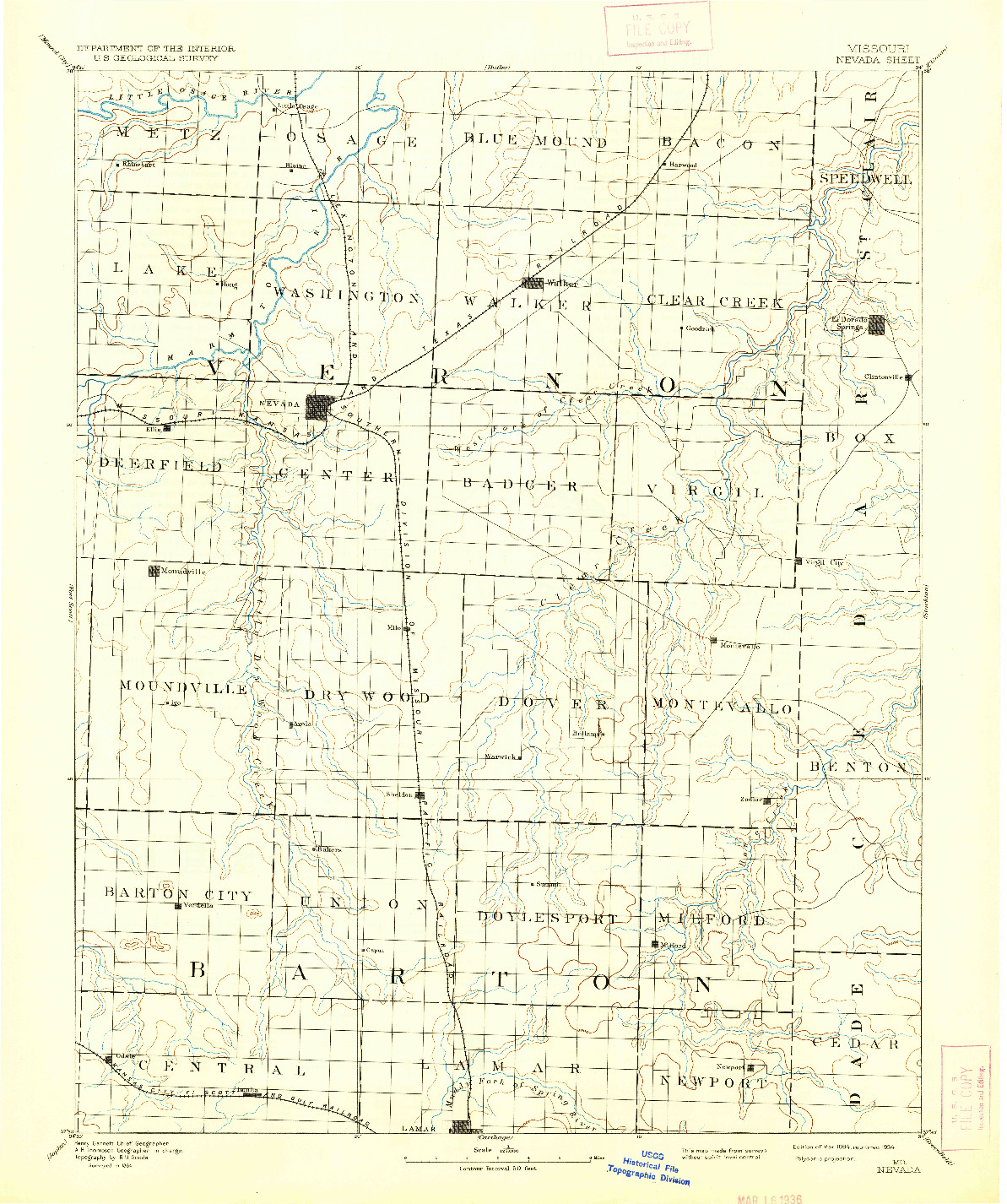 USGS 1:125000-SCALE QUADRANGLE FOR NEVADA, MO 1894