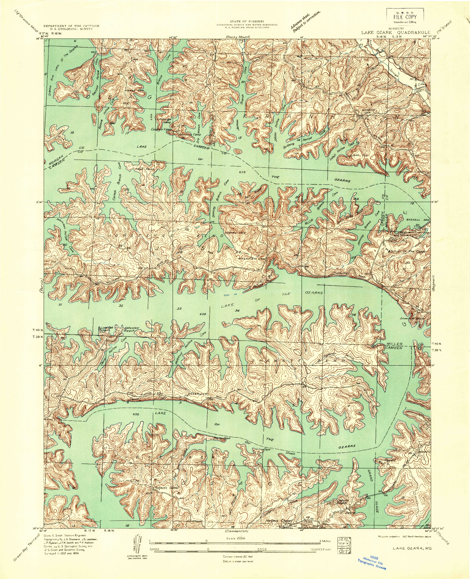 USGS 1:24000-SCALE QUADRANGLE FOR LAKE OZARK, MO 1934