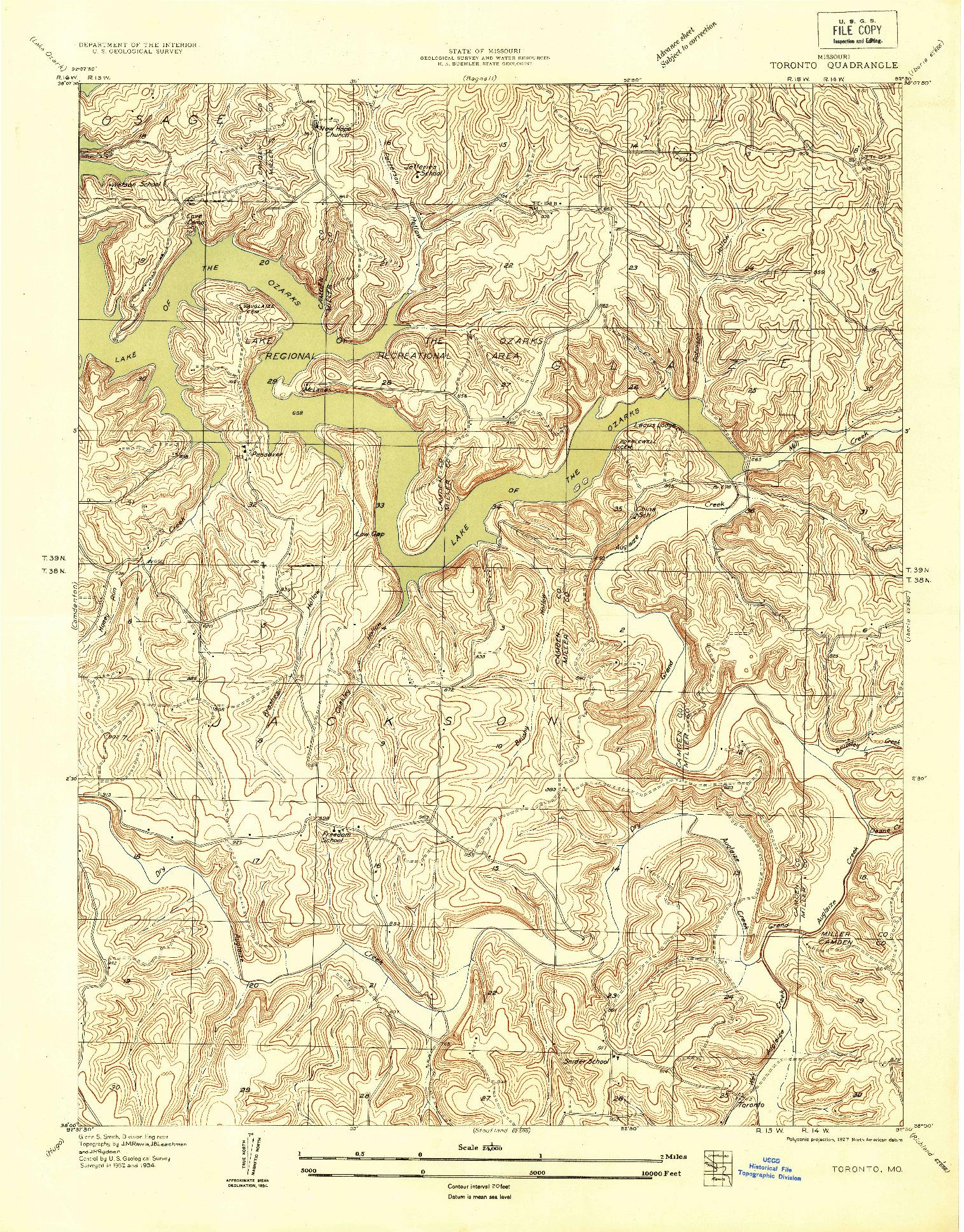 USGS 1:24000-SCALE QUADRANGLE FOR TORONTO, MO 1934