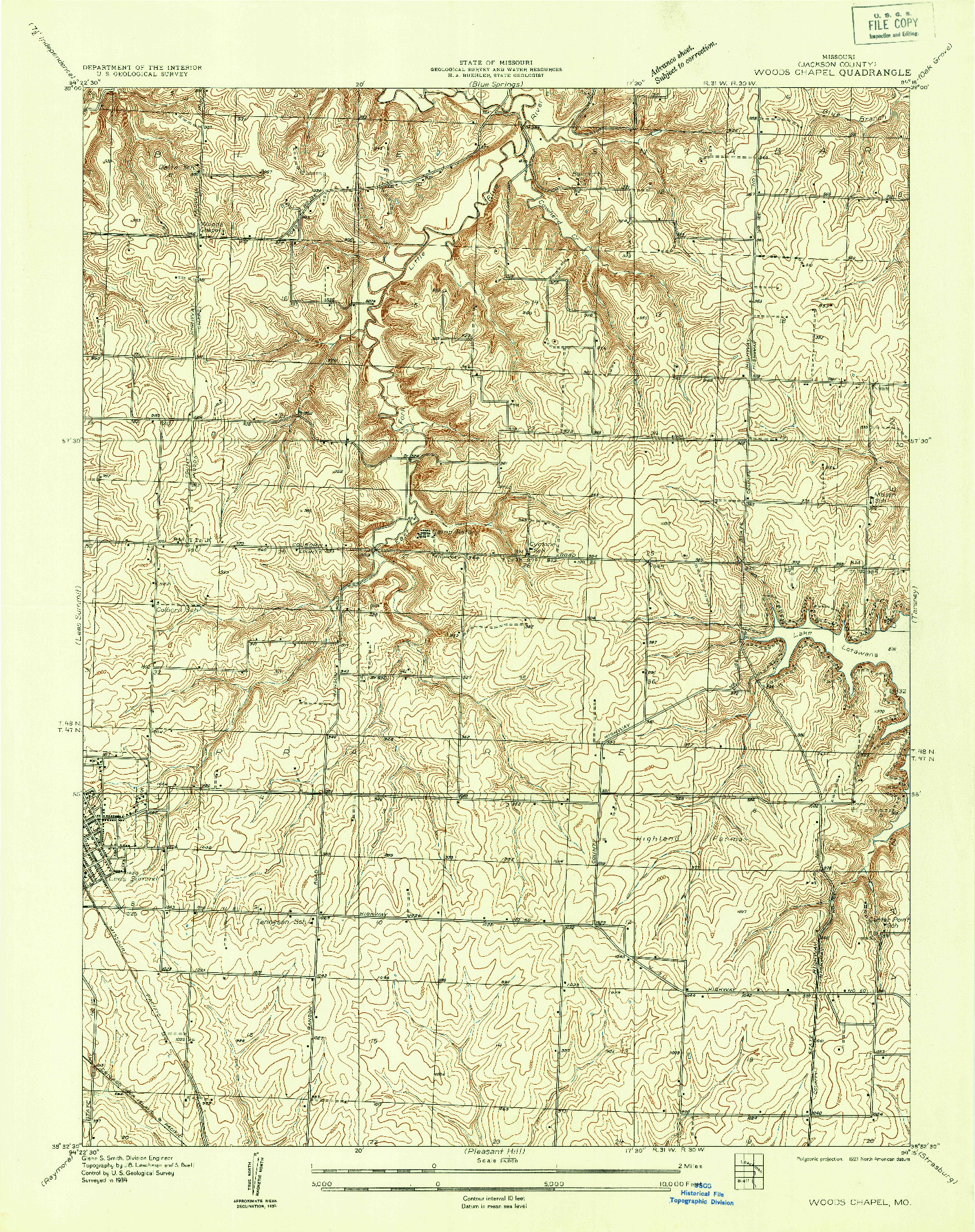USGS 1:24000-SCALE QUADRANGLE FOR WOODS CHAPEL, MO 1934