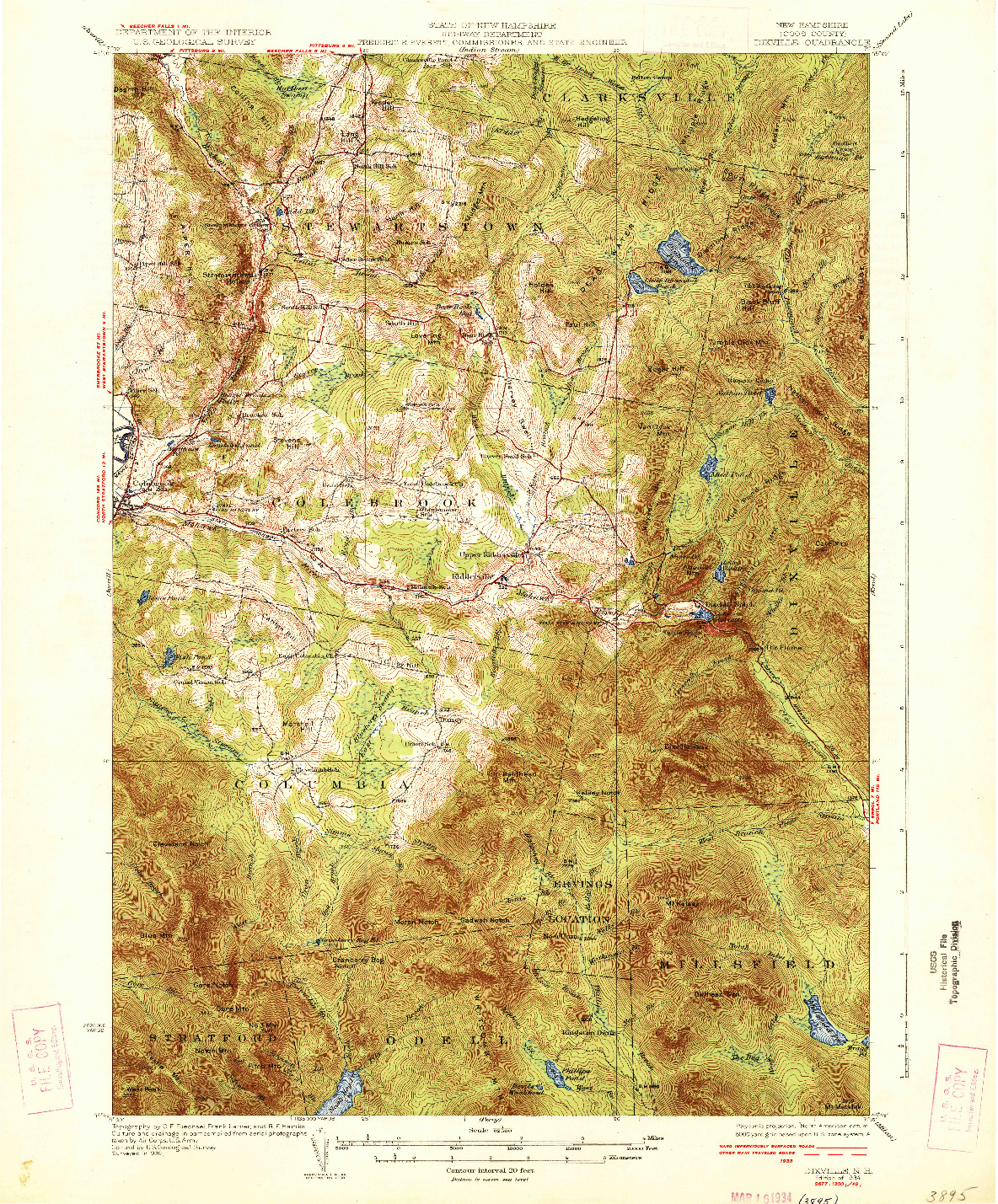 USGS 1:62500-SCALE QUADRANGLE FOR DIXVILLE, NH 1934