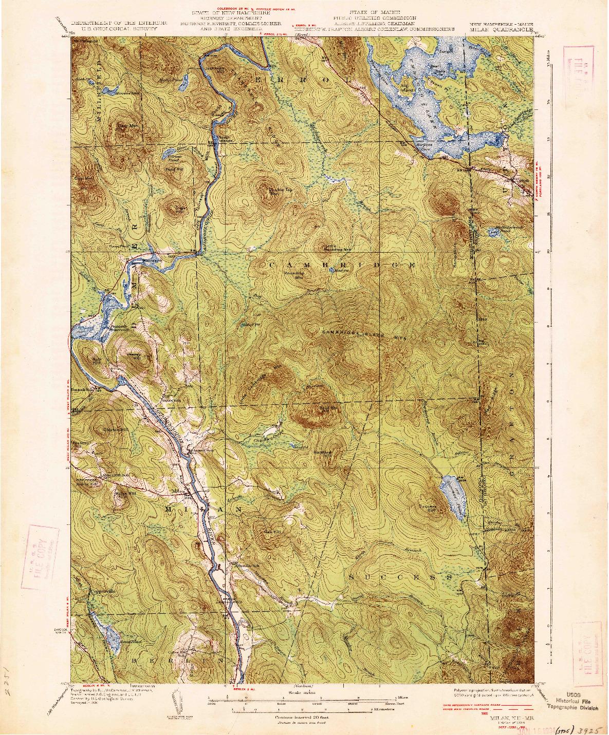 USGS 1:62500-SCALE QUADRANGLE FOR MILAN, NH 1934