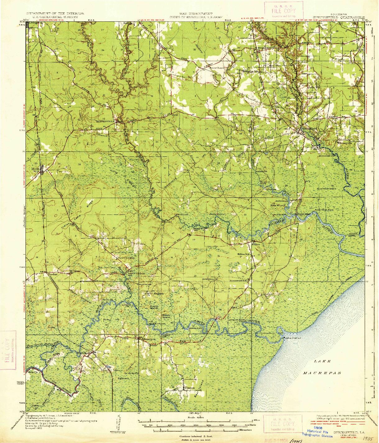 USGS 1:62500-SCALE QUADRANGLE FOR SPRINGFIELD, LA 1934