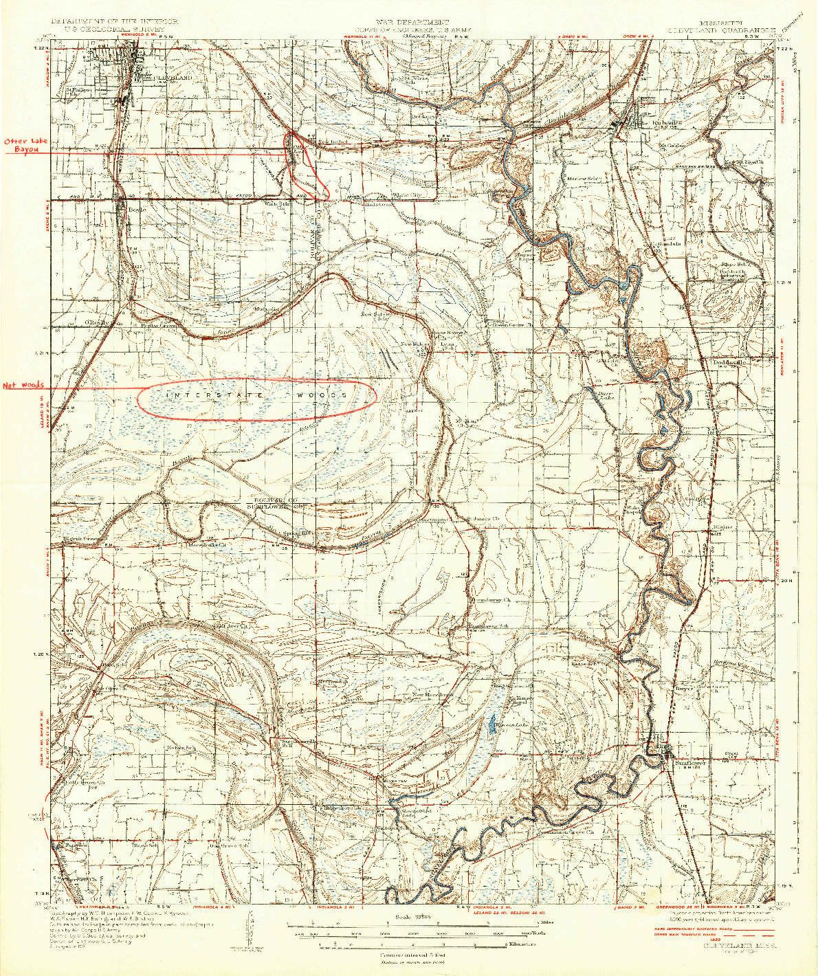 USGS 1:62500-SCALE QUADRANGLE FOR CLEVELAND, MS 1934