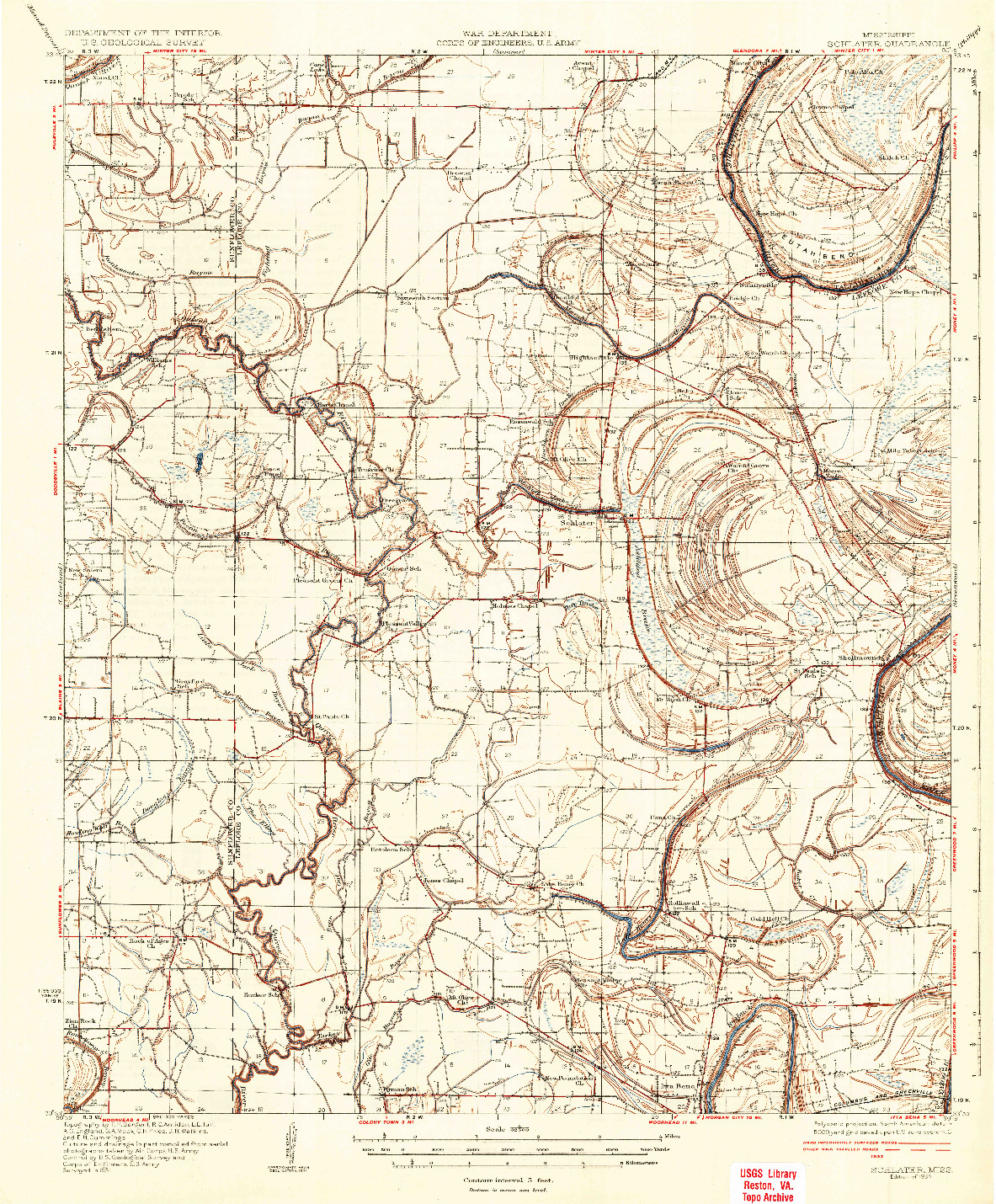 USGS 1:62500-SCALE QUADRANGLE FOR SCHLATER, MS 1934