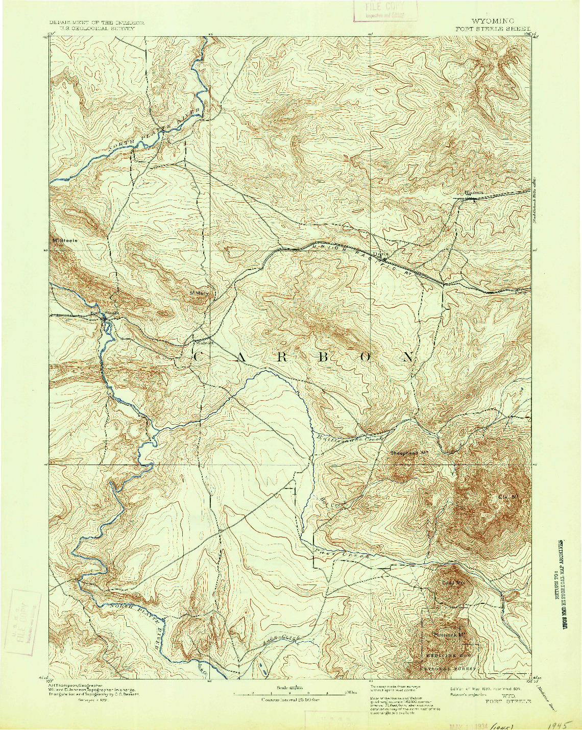 USGS 1:125000-SCALE QUADRANGLE FOR FORT STEELE, WY 1893