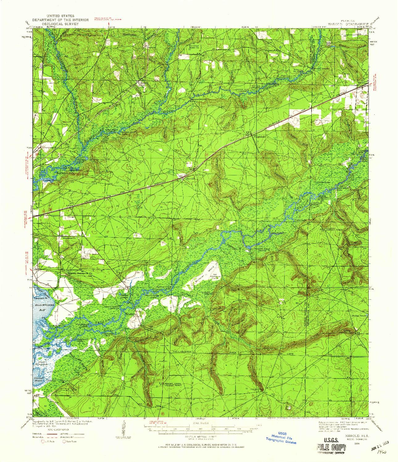 USGS 1:62500-SCALE QUADRANGLE FOR HAROLD, FL 1934