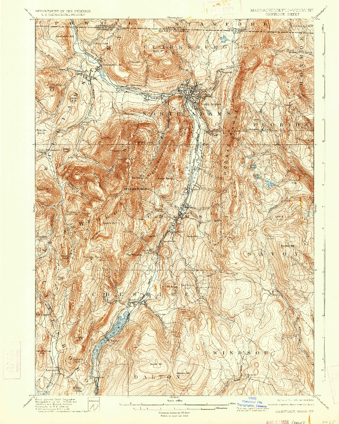 USGS 1:62500-SCALE QUADRANGLE FOR GREYLOCK, MA 1898