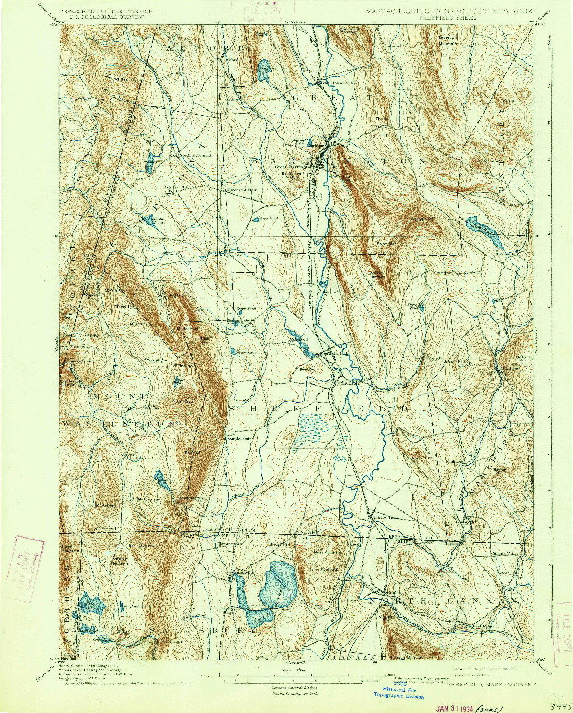 USGS 1:62500-SCALE QUADRANGLE FOR SHEFFIELD, MA 1897