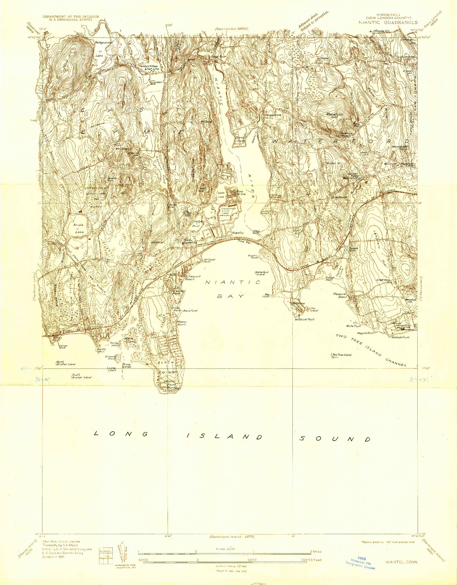 USGS 1:24000-SCALE QUADRANGLE FOR NIANTIC, CT 1934