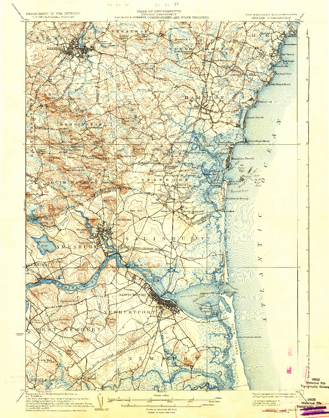 USGS 1:62500-SCALE QUADRANGLE FOR EXETER, NH 1934