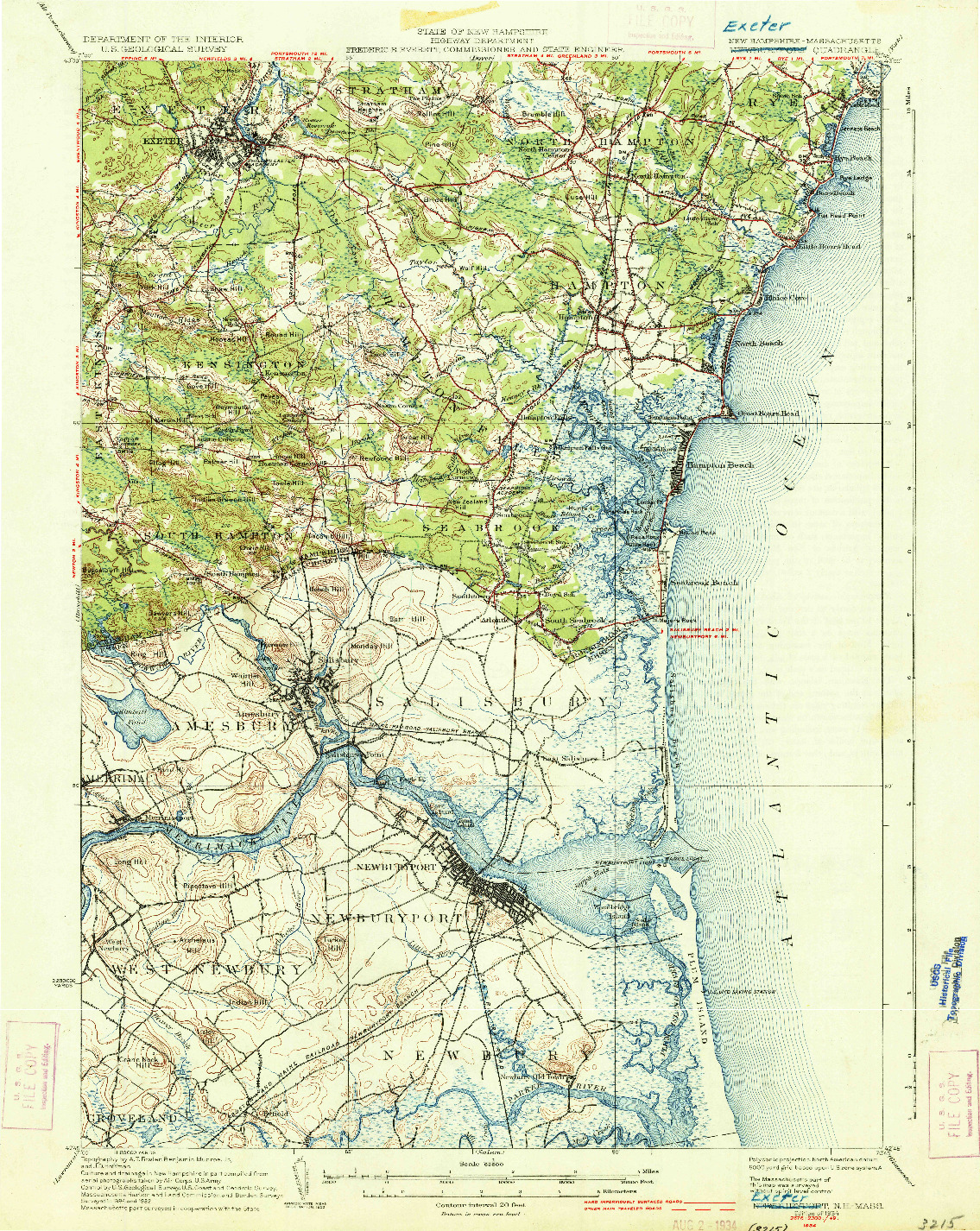 USGS 1:62500-SCALE QUADRANGLE FOR NEWBURYPORT, NH 1934
